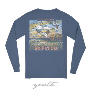 Southern Fried Cotton Long-Sleeve Youth T-shirt- Summer Shadow Navy