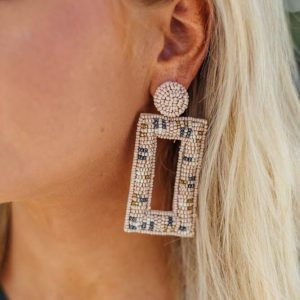 Statement Earrings- Beige
