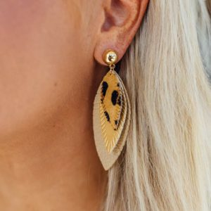 Statement Earrings- Leopard Beige