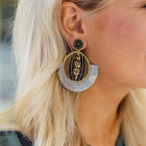 Statement Earrings- Gray