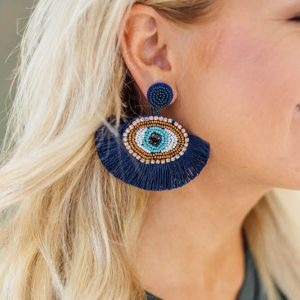 Statement Earrings- Navy