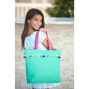 Viv and Lou Mint Pom Pom Tote