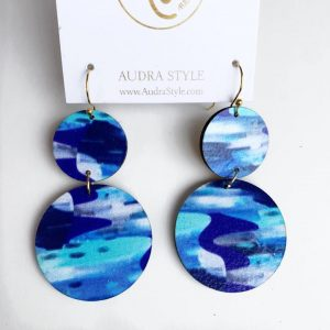 Audra Style Vivian Earrings- Blue Teal Abstract