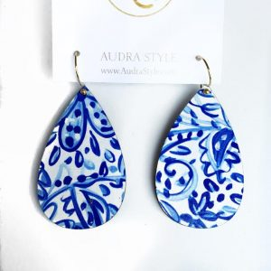 Audra Style Wendy Earrings- Blue White